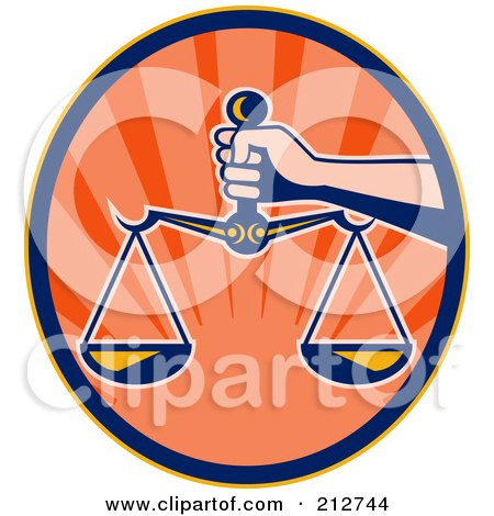 Royalty-Free (RF) Clipart Illustration of a Hand Holding The Scales Of Justice by patrimonio