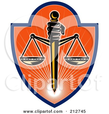 Royalty-Free (RF) Clipart Illustration of a Scales Of Justice Logo by patrimonio