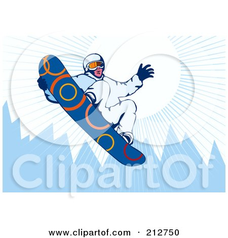 Royalty-Free (RF) Clipart Illustration of a Snowboarder In The Mountains - 1 by patrimonio