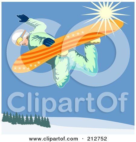 Royalty-Free (RF) Clipart Illustration of a Snowboarder In The Mountains - 3 by patrimonio