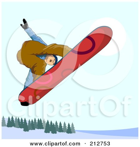 Royalty-Free (RF) Clipart Illustration of a Snowboarder In The Mountains - 5 by patrimonio
