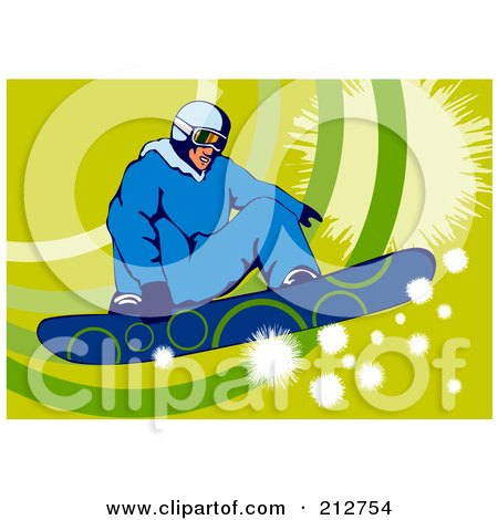 Royalty-Free (RF) Clipart Illustration of a Snowboarder Over Green by patrimonio