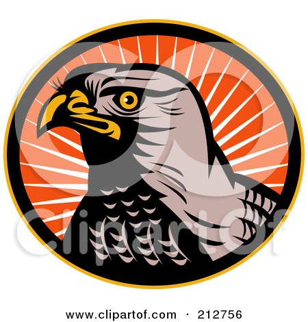 Royalty-Free (RF) Clipart Illustration of a Hawk Face Logo by patrimonio