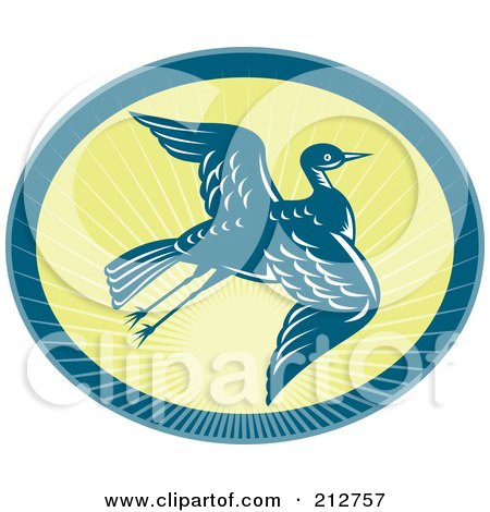 Royalty-Free (RF) Clipart Illustration of a Flying Heron Logo by patrimonio