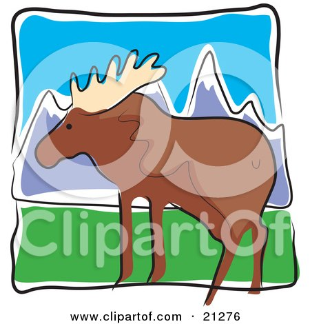 Clipart Illustration of a Large Moose With Big Antlers In A Green Pasture Near Snow Covered Mountains by Maria Bell