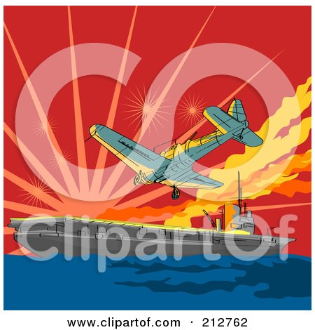 Royalty-Free (RF) Clipart Illustration of a Plane Attack On A Ship by patrimonio