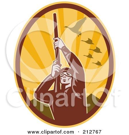 Royalty-Free (RF) Clipart Illustration of a Shooting Hunter Logo by patrimonio
