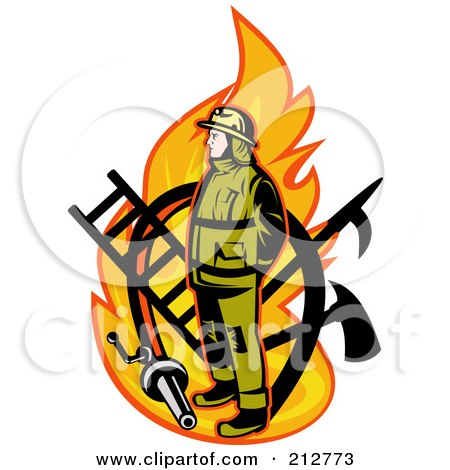 Royalty-free clipart picture of a flame and fireman logo,