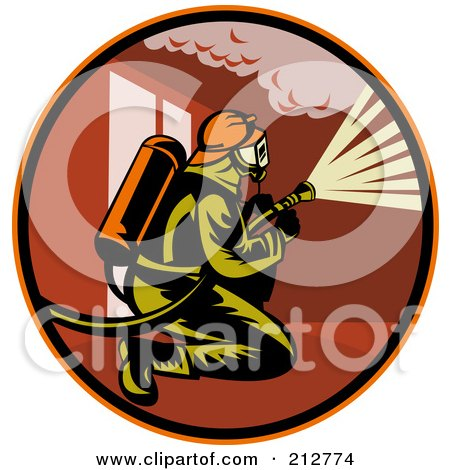 Royalty-free clipart picture of a kneeling fireman logo,