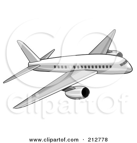 Royalty-Free (RF) Clipart Illustration of a White Commercial Airliner by patrimonio