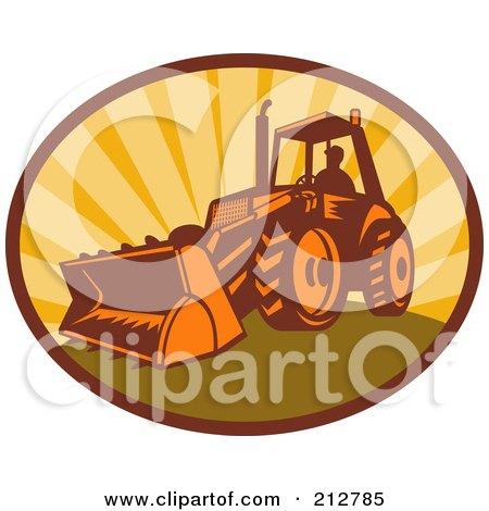 Royalty-Free (RF) Clipart Illustration of a Digger Bulldozer Logo by patrimonio