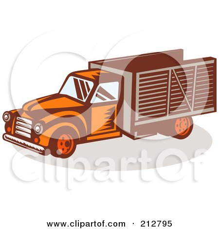 Royalty-Free (RF) Clipart Illustration of a Retro Delivery Truck by patrimonio