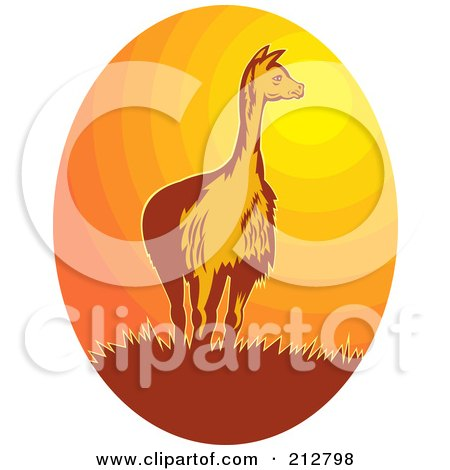 Royalty-Free (RF) Clipart Illustration of a Vicuna At Sunset Logo by patrimonio
