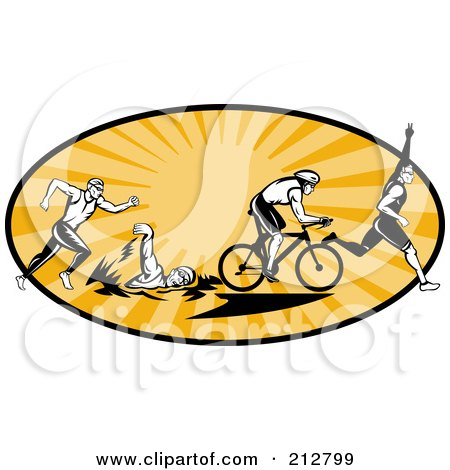 Royalty-Free (RF) Clipart Illustration of a Triathlon Logo by patrimonio