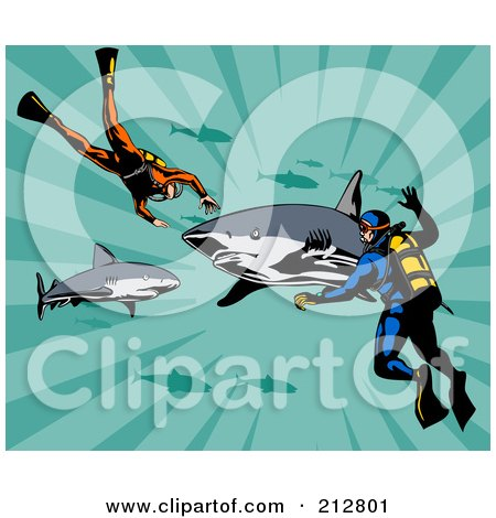 clipart retro scuba diver swimming with an angel fish