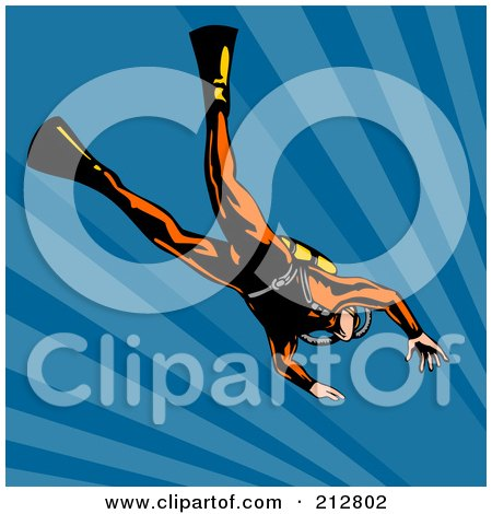 Royalty-Free (RF) Clipart Illustration of a Scuba Diver In Blue Water by patrimonio