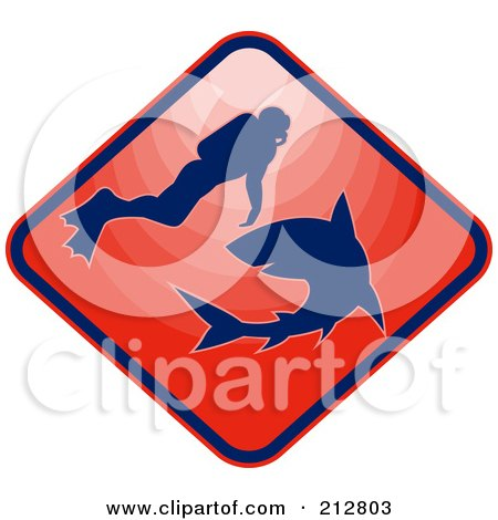 Royalty-Free (RF) Clipart Illustration of a Red Scuba And Shark Logo by patrimonio