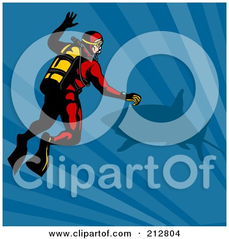 Royalty-Free (RF) Clipart Illustration of a Scuba Diver With A Shark by patrimonio