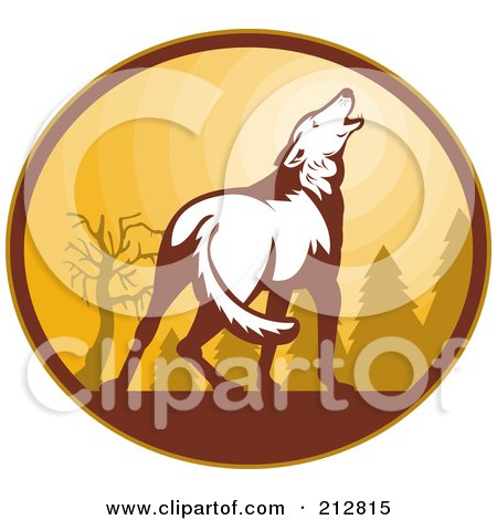 Royalty-Free (RF) Clipart Illustration of a White Howling Wolf Logo by patrimonio