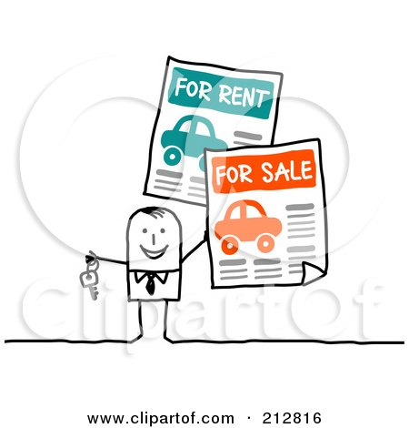 Royalty-Free (RF) Clipart Illustration of a Stick Business Man With Car For Sale And For Rent Signs by NL shop
