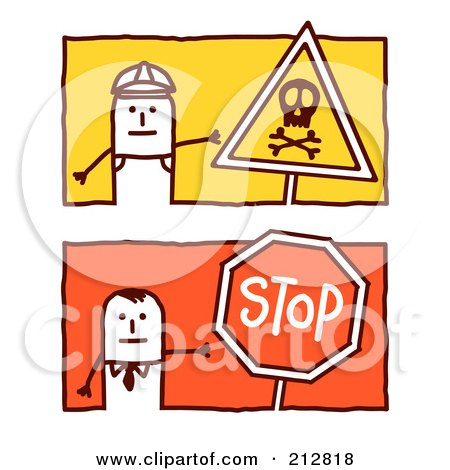 Royalty-Free (RF) Clipart Illustration of a Digital Collage Of Stick Men With Signs by NL shop