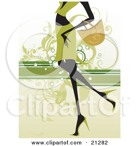Clipart Illustration of a Shopping Woman In Green, Carrying A Purse On Her Arm And Walking In Heels, Over A Green Scrolled Background by OnFocusMedia