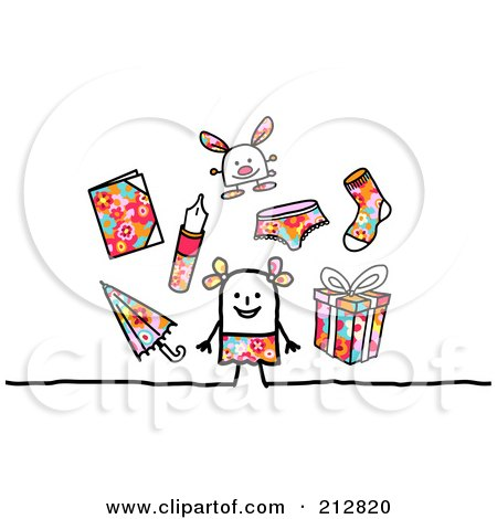 Royalty-Free (RF) Clipart Illustration of a Stick Girl With Toys And Accessories by NL shop