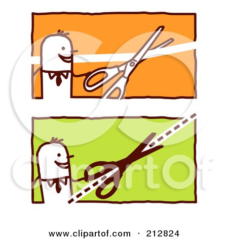 Royalty-Free (RF) Clipart Illustration of a Digital Collage Of Stick Business Men With Scissors by NL shop