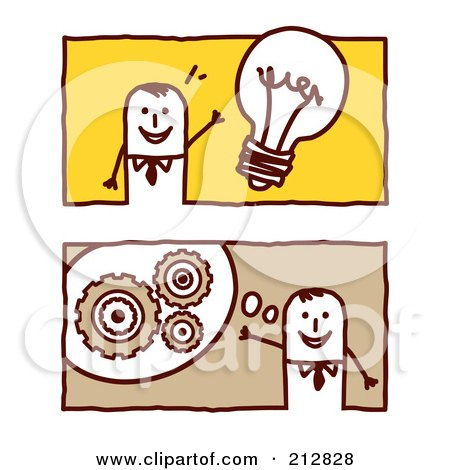 Royalty-Free (RF) Clipart Illustration of a Digital Collage Of Stick Business Men With Ideas by NL shop