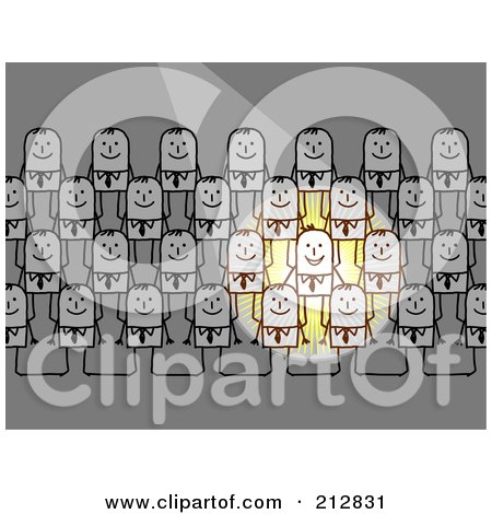 Royalty-Free (RF) Clipart Illustration of a Light Shining Down On Stick Business Men Standing In Rows by NL shop