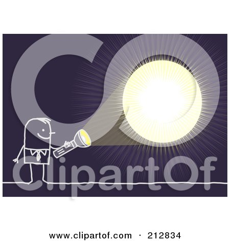 Royalty-Free (RF) Clipart Illustration of a Stick Businessman Shining A Light In The Darkness by NL shop
