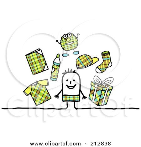 Royalty-Free (RF) Clipart Illustration of a Stick Boy Surrounded By Plaid Clothes And Accessories by NL shop
