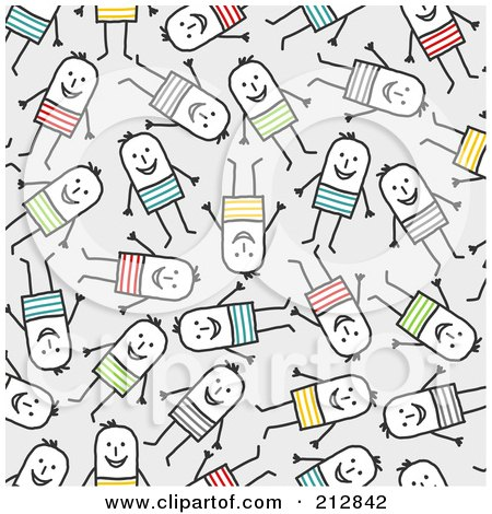 Royalty-Free (RF) Clipart Illustration of a Seamless Pattern Background Of Happy Stick Men In Colorful Clothes Over Gray by NL shop
