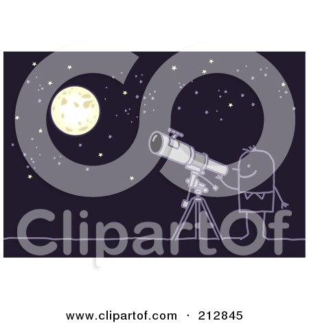 Royalty-Free (RF) Clipart Illustration of a Stick Man Using A Telescope To View The Night Sky by NL shop