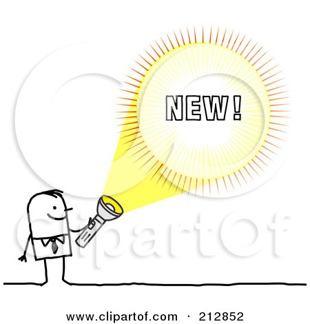 Royalty-Free (RF) Clipart Illustration of a Stick Businessman Shining A Light On New by NL shop