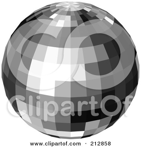 Royalty-Free (RF) Clipart Illustration of a Reflective Black And Gray Disco Ball by dero