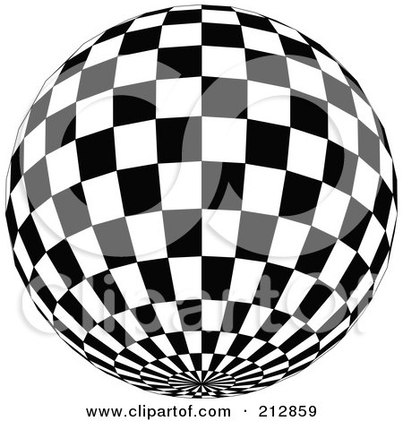 Royalty-Free (RF) Clipart Illustration of a Checkered Black And White Disco Ball With The Bottom In View by dero