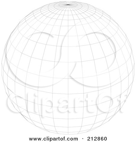 Royalty-Free (RF) Clipart Illustration of a Wire Frame Sphere With A Point At The Top by dero