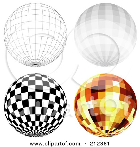 Royalty-Free (RF) Clipart Illustration of a Digital Collage Of A Wire Frame Sphere And Disco Balls - 2 by dero