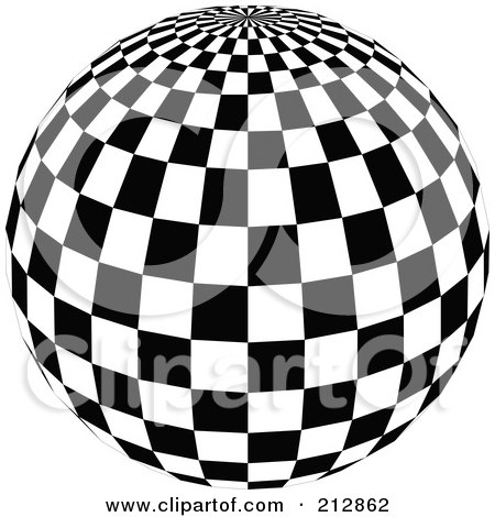 Royalty-Free (RF) Clipart Illustration of a Checkered Black And White Disco Ball With The Top In View by dero