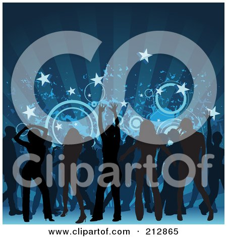 Royalty-Free (RF) Clipart Illustration of a Background Of Silhouetted Men And Women Having Fun On A Dance Floor, Under Blue Rays by dero