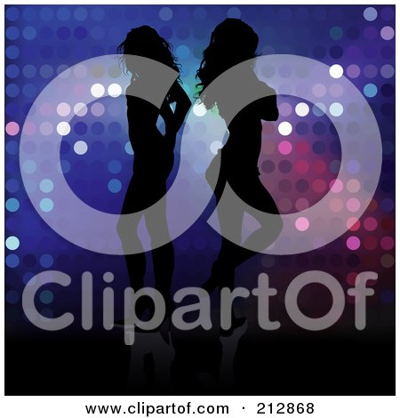 Royalty-Free (RF) Clipart Illustration of a Background Of Two Silhouetted Women Standing Back To Back Over Sparkles by dero