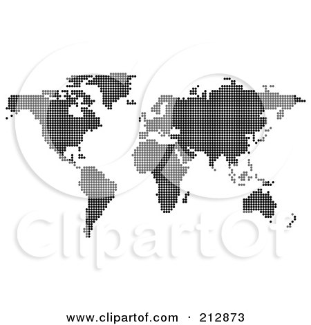 Royalty-Free (RF) Clipart Illustration of a Black World Atlas Formed Of Black Dots by dero