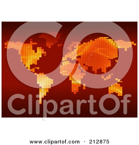 Royalty-Free (RF) Clipart Illustration of a World Atlas Formed Of Gradient Pixels On Red by dero
