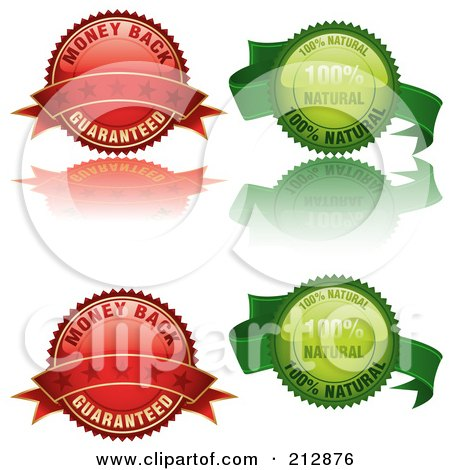 Digital Collage Of Four Glossy Labels In Red And Green Posters, Art Prints