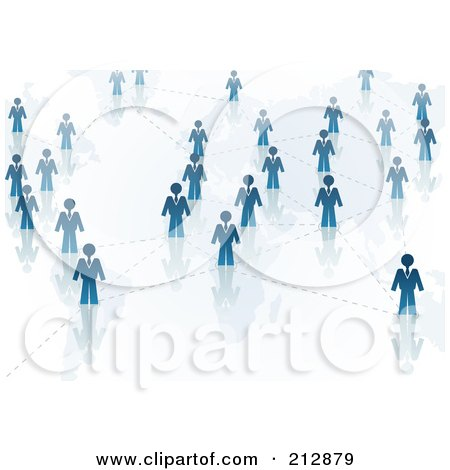 Royalty-Free (RF) Clipart Illustration of a Networked Group Of Blue People by dero
