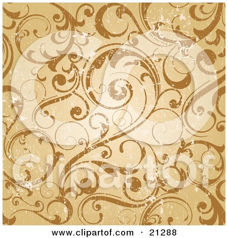 Clipart Illustration of a Worn Scroll Background Of Curling Vines In Orange And Brown Tones by OnFocusMedia