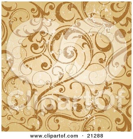 Worn Scroll Background Of Curling Vines In Orange And Brown Tones Posters, Art Prints