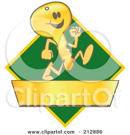 Royalty-Free (RF) Clipart Illustration of a Running Golden Key Mascot Character Logo Over A Green Diamond And Gold Banner by Toons4Biz