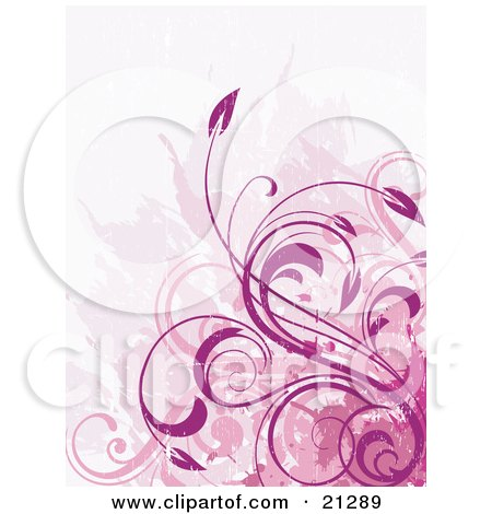 Clipart Illustration of a Background Of Pink Vines And Floral Scrolls In Different Pink Tones by OnFocusMedia